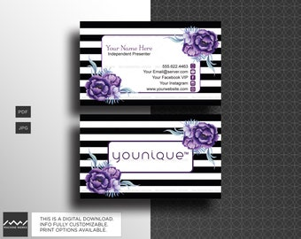 younique business cards independent presenter compliant marketing material purple floral design digital download machinewerks - Younique Business Cards