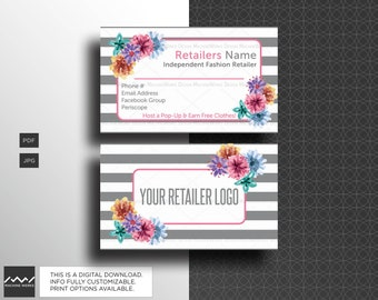 LLR Business Cards Independent Fashion Retailer Compliant Marketing Material LuLa Watercolor Floral Design Digital Download MachineWerks