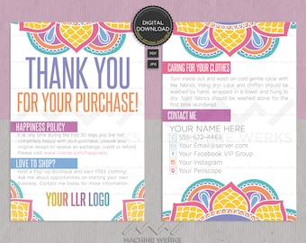 LLR Thank You Cards and Care Cards, Custom Retailer Marketing Materials, Printable Digital Download, MachineWerks Design Happiness Policy