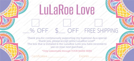 professional lula coupon / gift certificate all purpose | etsy