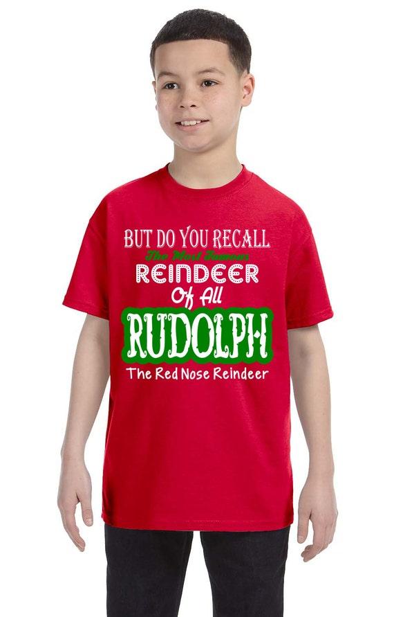 Kids Christmas tshirt-Rudolph Christmas tshirt-Reindeer | Etsy