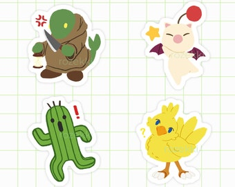 Final Fantasy Decal Funny Cactuar Sticker FF Retro Gamer Gift for Laptop PC Wall