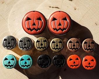 "Best Seller! Jack-o-lantern Stone & Steel Pumpkin Plugs- 7/16"" , 1/2"" , 7/8"" , 1"" - Handmade / tunnels / gauges / halloween / spooky"