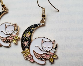 Gold Cat and Moon Earrings, Dangle / boho / floral / gift / spring