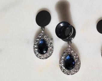 "Blue Diamond Dangle Plugs / tunnels / gauges / 0g 8mm , 00g 10mm , 1/2"" , 3/4"" 12mm / earrings / gift"
