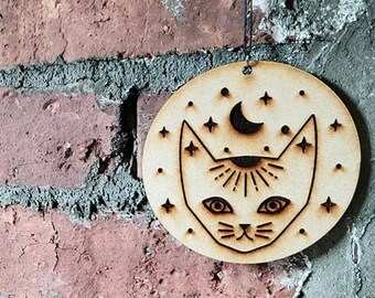 Mystic Cat Wall Hanging - Handmade - Wood - Halloween - Gift - Decor - Wall Art - Moon and Stars