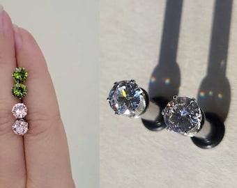 8g , 6g Diamond Plugs - Handmade - Tunnels / Gauges / Earrings / Cubic Zirconia / Silver / green / pink
