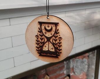 Hourglass Wall Hanging - Handmade - Wood - Halloween - Gift - Decor - Wall Art - Moon and Stars - Mystical