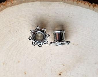 Silver Lotus Plugs -  Internally threaded tunnels / earrings / plugs /