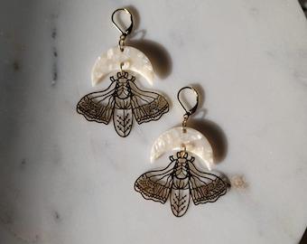 Brass Moth and Moon Dangle Earrings - Brass / Gold / Boho / Pearl / Fall / Autumn