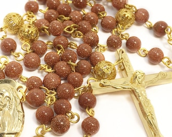 Catholic Rosary Beads, Traditional Five Decade Rosary, Goldstone Gemstone Rosary, Prayer Beads, First Communion, Confirmation