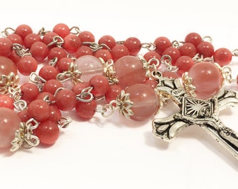 Catholic Rosary Beads, Coral Salmon Rosary Beads, Traditional Five Decade Prayer Beads, Silver Rosary, First Communion
