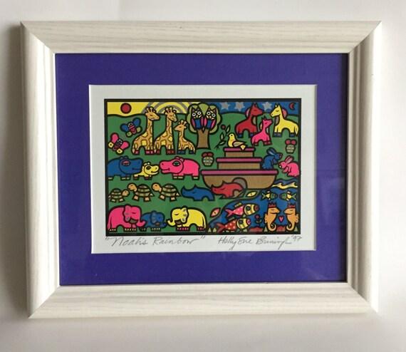 Noah\'s Ark Holly Sue Buningh Rainbow signed print | Etsy