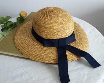 e01d85ff5d69dd Vintage straw wide brim hat | 1930s straw sun hat