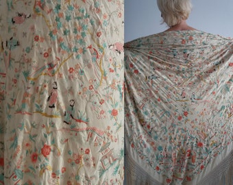 09c54fc82 Antique chinese silk hand embroidered piano shawl | silk piano shawl