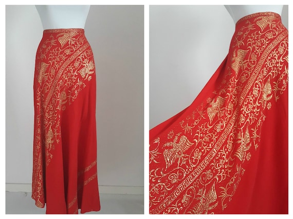 Vintage 1930s metallic lame skirt | 30s red fabric