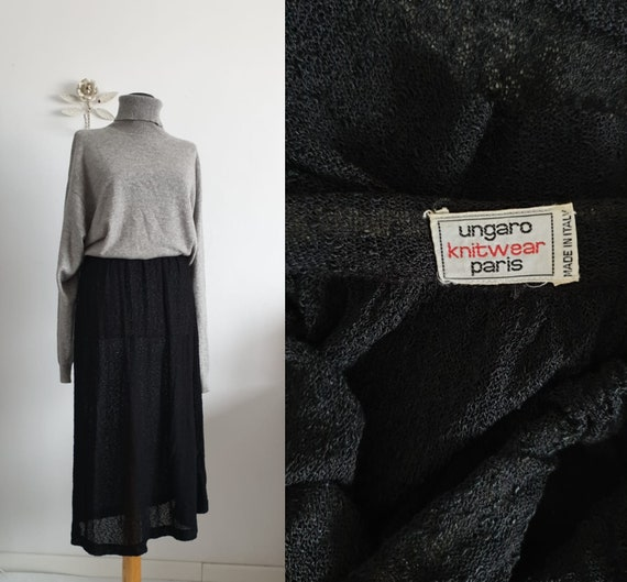 Ungaro black wool skirt | black knit skirt