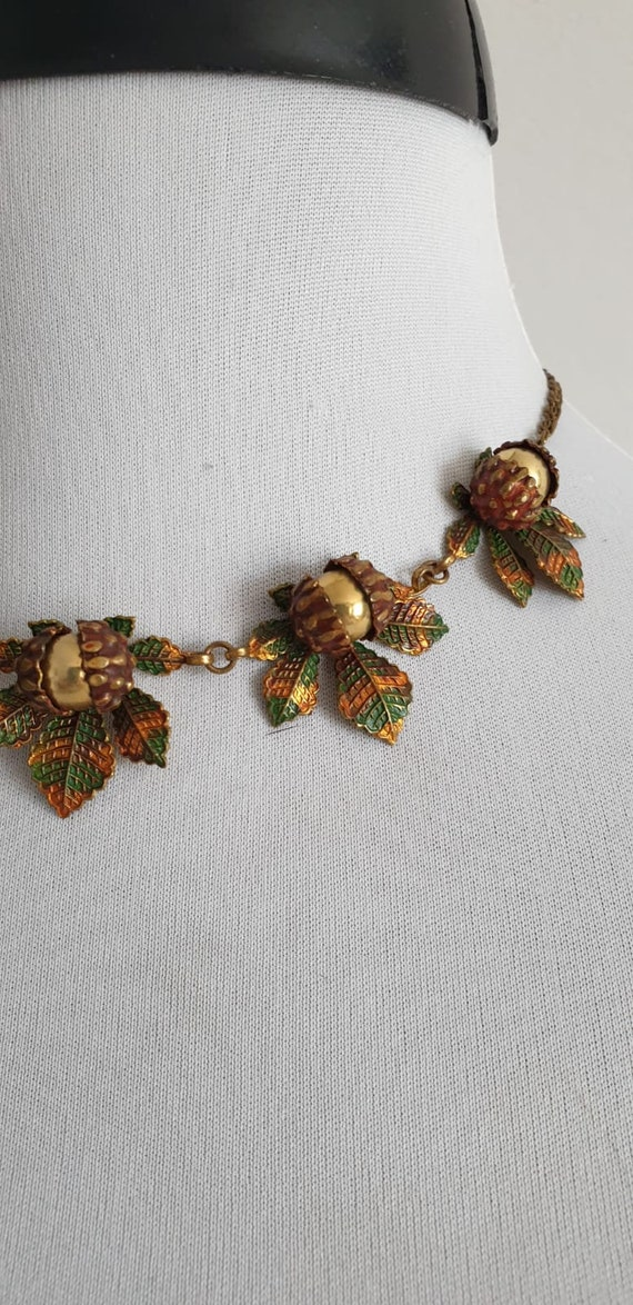 1930s necklace | vintage 30s brass and enamel nec… - image 5
