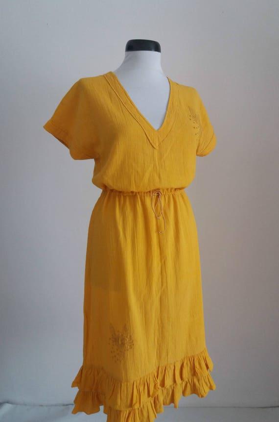 Vintage 1970s embroidered dress| 70s floral gauze… - image 3