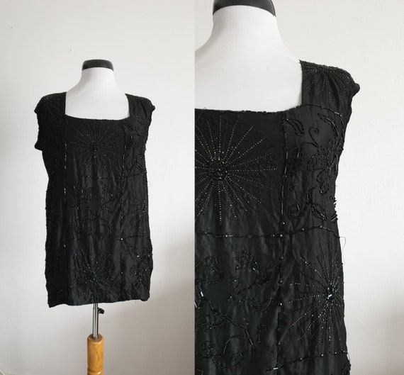 1920s silk blouse | vintage 20s black silk blouse