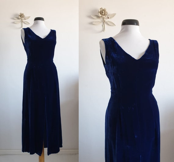 1930s silk  velvet dress | vintage 30s blue velvet