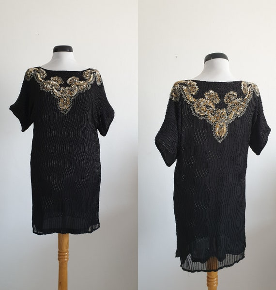 Vintage 1960s beaded dress   beaded silk dress   b