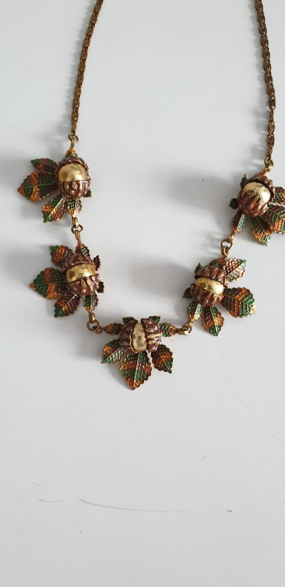 1930s necklace | vintage 30s brass and enamel nec… - image 2