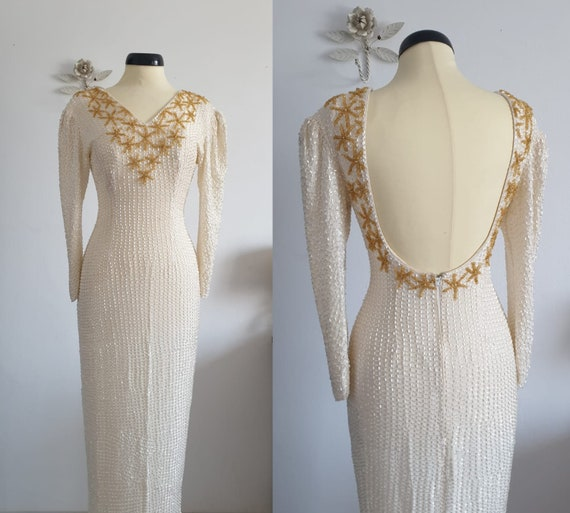 1980s beaded dress | vintage 80s fully beaded  wed