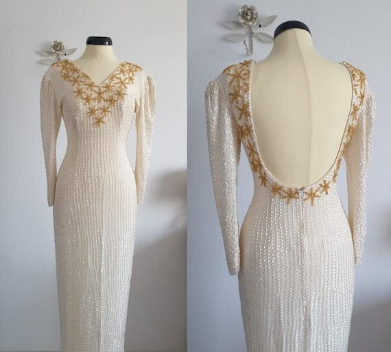 1980s beaded dress   vintage 80s fully beaded  wed