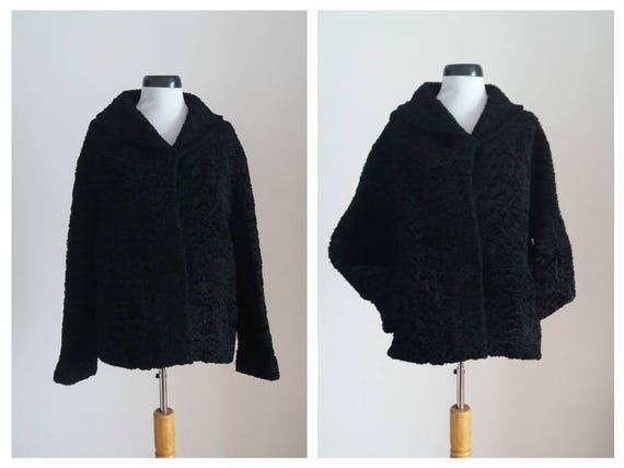 Vintage 1960s faux curly lamb coat | 60s black fau