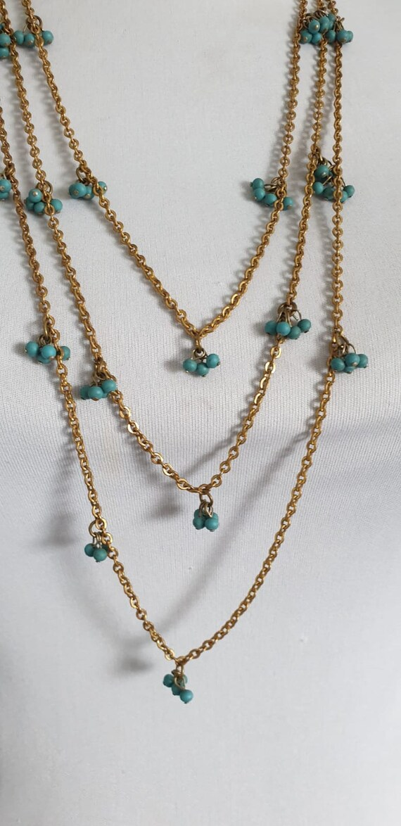 1930s necklace | vintage 30s brass and turquoise … - image 5