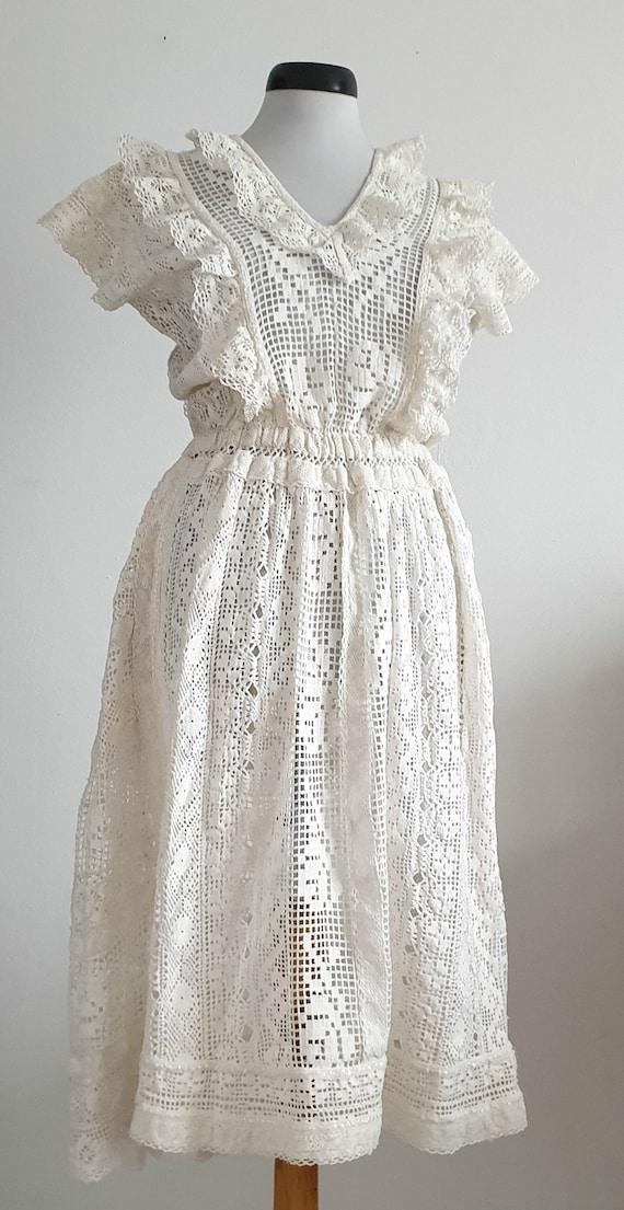 Vintage 1970s crochet dress | 70s cotton lace dre… - image 3