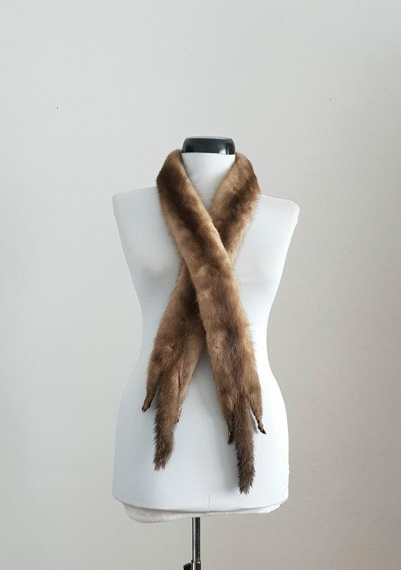 Vintage 1940s long mink fur scarf | 40s mink fur s