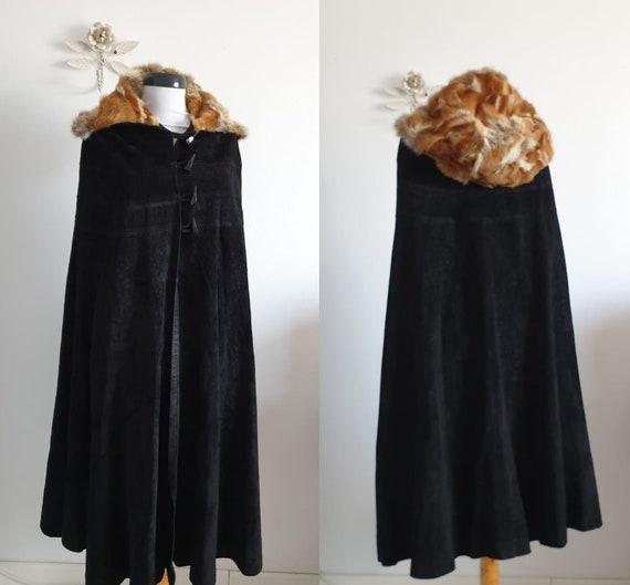 Black suede & fox fur cape   vintage leather cape