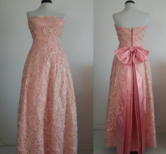 1940s lace&taffeta ball gown | vintage 40s ball g… - image 10