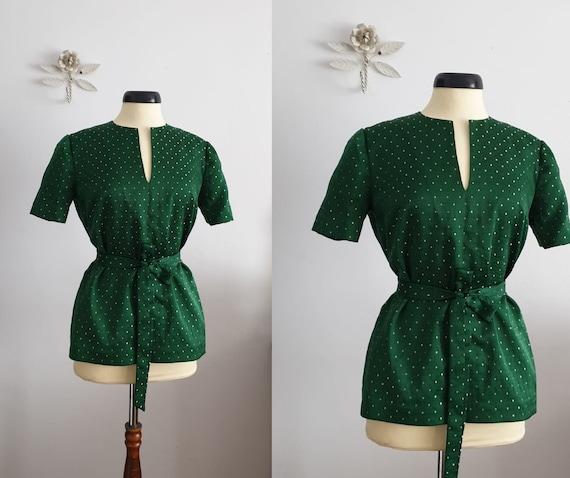 1950s green brocade blouse | vintage 50s brocade b