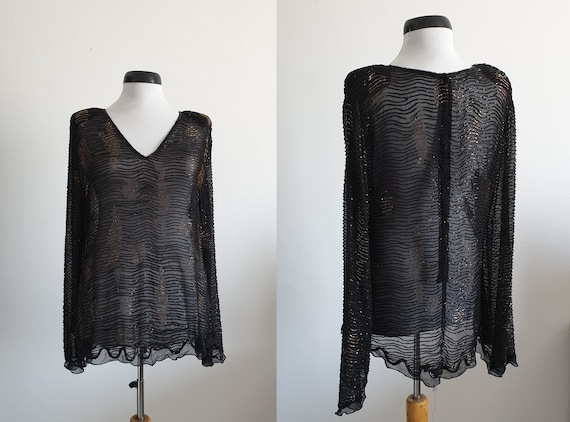 Vintage 1970s silk blouse | black silk blouse | si