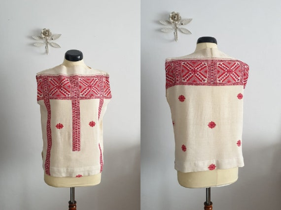 1970s embroidered blouse | vintage 70s peasant top
