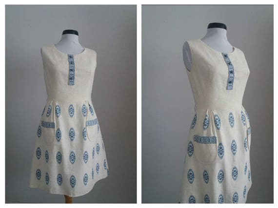 Vintage 1950s dress | 50s cotton dress | embroider