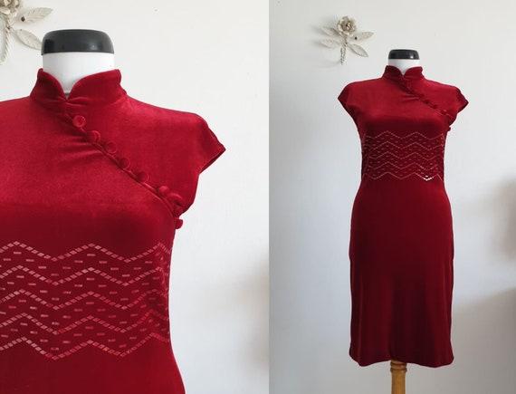 1970s red velvet dress | vintage 70s velvet dress