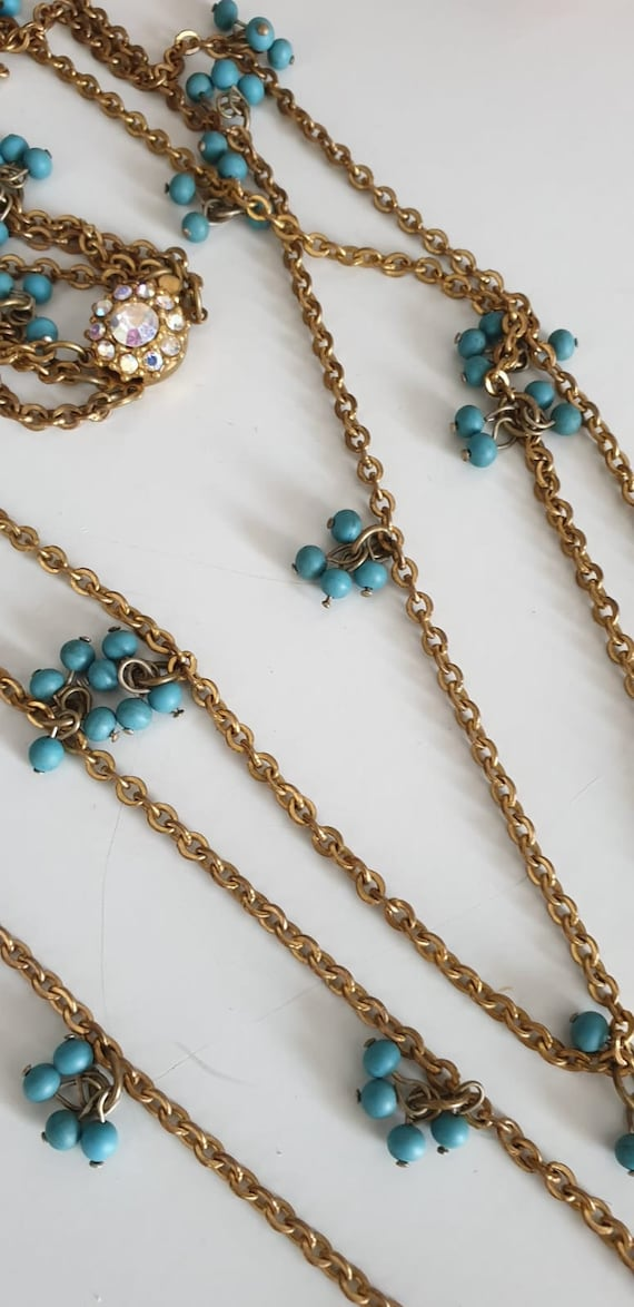 1930s necklace | vintage 30s brass and turquoise … - image 6