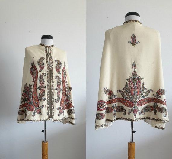 Antique Victorian silk hand embroidered cape | 190