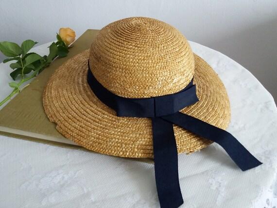 Vintage straw wide brim hat   1930s straw sun hat