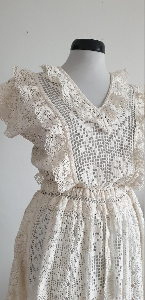 Vintage 1970s crochet dress | 70s cotton lace dre… - image 5