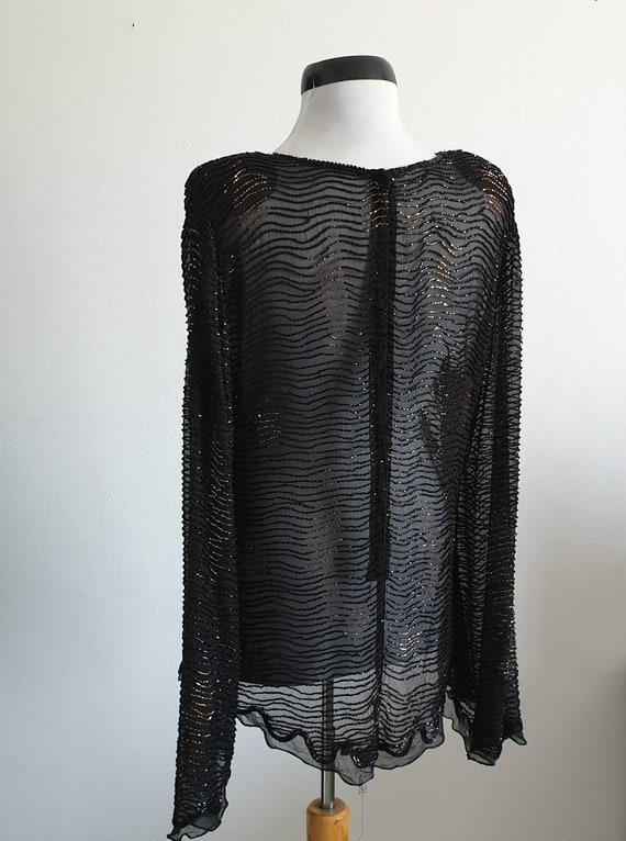 Vintage 1970s silk blouse | black silk blouse | s… - image 3