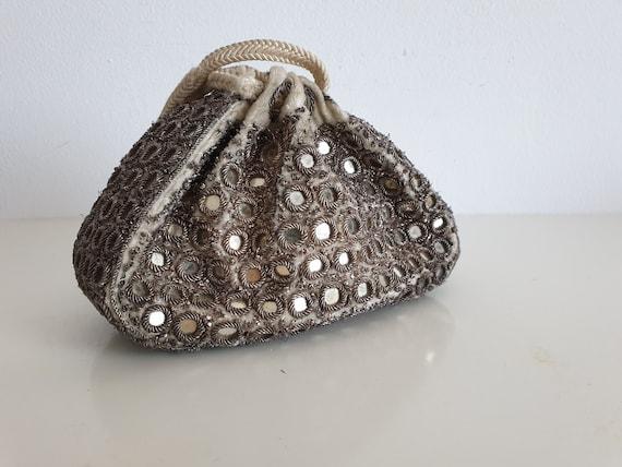 Antique embroidered purse | 1910s-1920s velvet pur