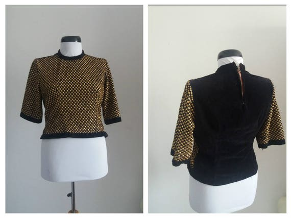 Vintage 1930s velvet blouse| 30s black velvet  and