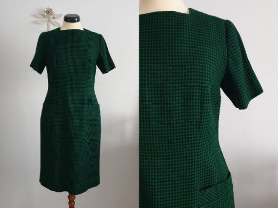 1950s green black gingham wool dress | vintage 50… - image 1