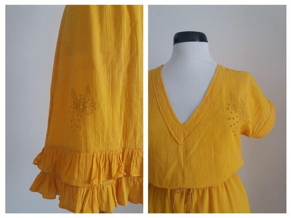 Vintage 1970s embroidered dress| 70s floral gauze… - image 5