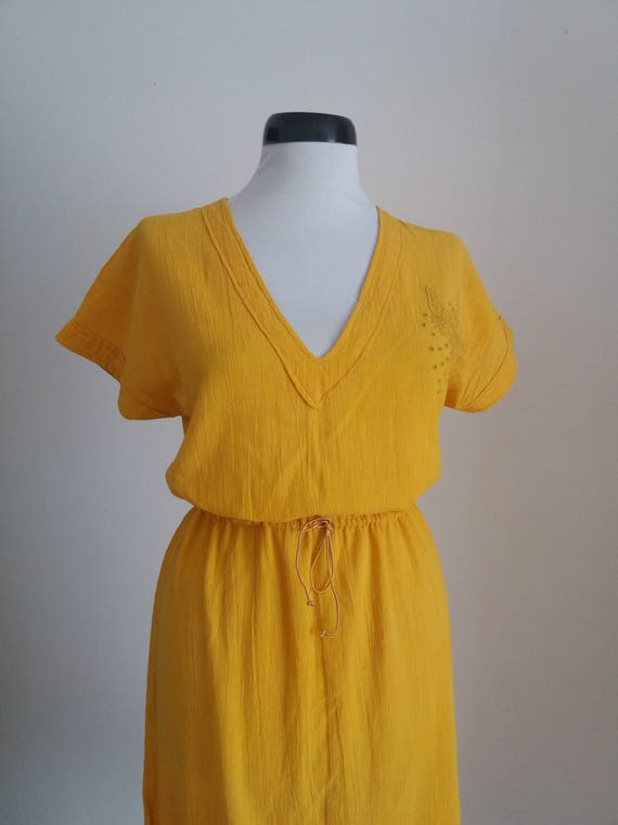 Vintage 1970s embroidered dress| 70s floral gauze… - image 4